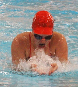 Grace Gardner of the Arkansas Valley Swim Team competes in the breaststroke leg of the 200-meter individual medley in Saturday's meet against Salida. Gardner won the event in 2:50.30 and also qualified for the state meet.