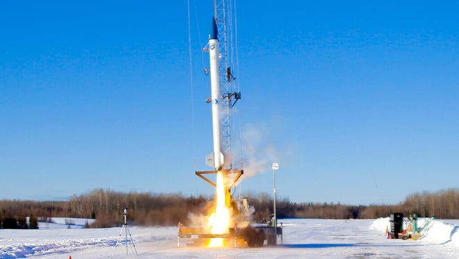 This image provided by bluShift Aerospace shows an unmanned rocket lifting off Sunday in a test run in Limestone, Maine. It was the first commercial rocket launch in Maine history. [The Knack Factory/bluShift Aerospace via AP]