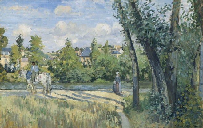 "Camille Pissarro, ""Sunlight on the Road, Pontoise, 1874"