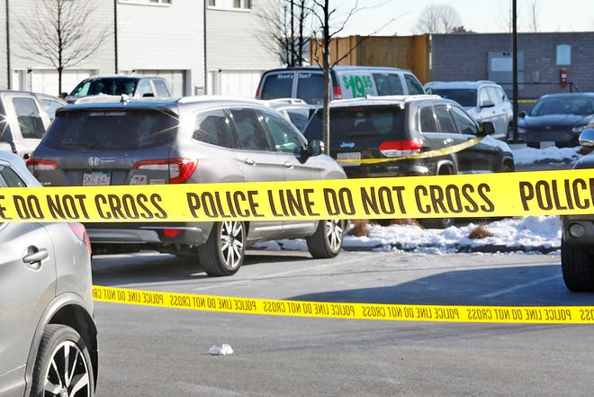 Weymouth and State Police at the scene of a multiple shooting and murder at the Mastlight apartments in the Union Point development on Sunday January 31, 2021 Greg Derr/The Patriot Ledger