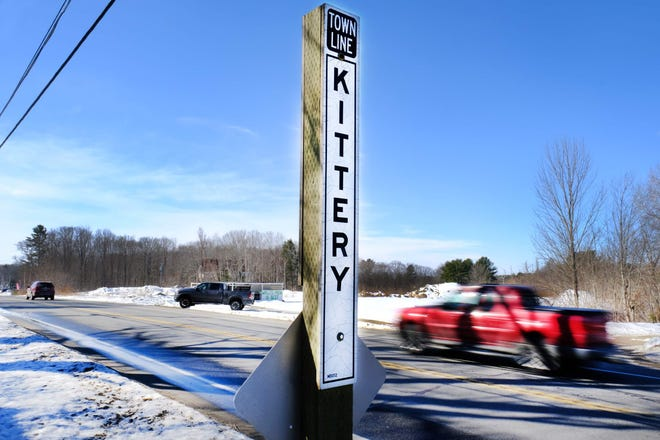 Traffic moves along U.S. Route 1 in 2019 near the town border between York and Kittery, Maine.