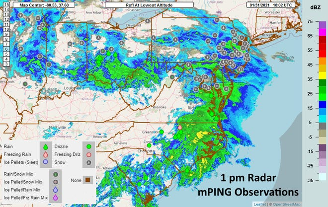 The National Weather Service released this image showing the storm starting to transfer its energy to the coast.