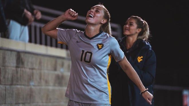 Former Hoover High School soccer player Jordan Brewster led West Virginia University to a 7-2 Big 12 record last fall. (Photo courtesy of West Virginia University Athletics)