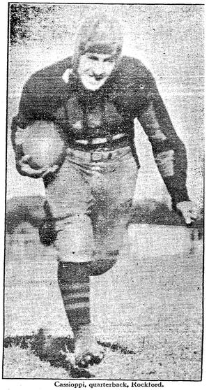 Rockford Rabs quarterback Tony Cassioppi, shown here in the Rockford Republic in 1928, earned 10 varsity letters in three sports.