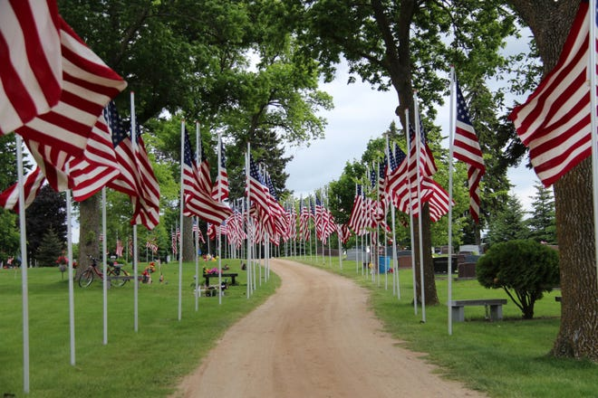 Sleepy Eye Avenue of Flags at Home Cemetery