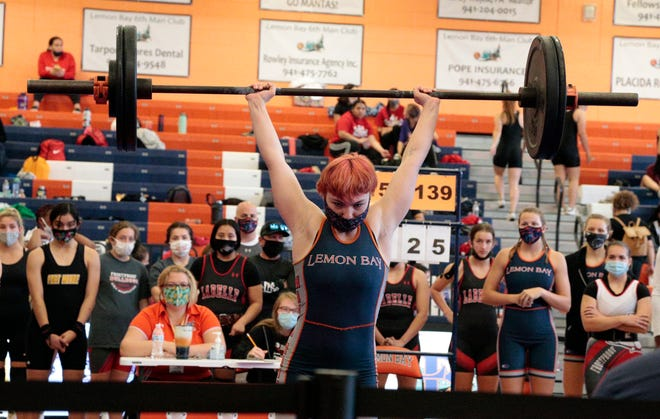 Lemon Bay regional champion Tiffany Crady will compete with 12 teammates in the Class 1A FHSAA Girls State Weightlifting Tournament on Friday and Saturday at Suwannee High School.