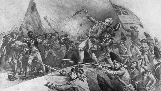 A drawing by J.E. Taylor depicts Peter Salem, an African American man who gained his freedom by enlisting in the provincial army, shooting British Maj. John Pitcairn at the Battle of Bunker Hill. (Getty Images)