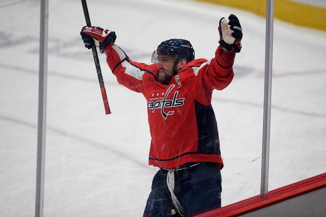 Washington's Alex Ovechkin celebrates his game-winning goal in overtime of Saturday's game.