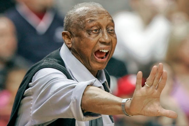 In this  photo taken on Feb. 25, 2006, Temple head coach John Chaney yells directions to his players during the first half of an NCAA college basketball game against Duke in Philadelphia. Chaney, one of the nation's leading Black coaches and a commanding figure during a Hall of Fame basketball career at Temple, has died. He was 89. His death was announced by the university on Friday. [AP File Photo/Tom Mihalek]