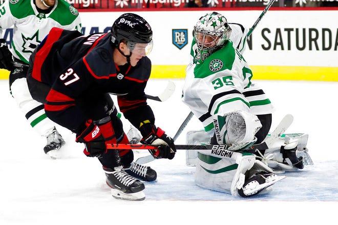 Carolina Hurricanes' Andrei Svechnikov (37) shoots the puck past Dallas Stars goaltender Anton Khudobin (35) for a goal during the second period of an NHL hockey game in Raleigh, N.C., Saturday, Jan. 30, 2021. (AP Photo/Karl B DeBlaker)