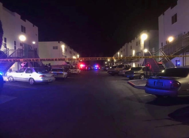 The scene of a shooting that took place Sunday morning at an east Pueblo apartment complex