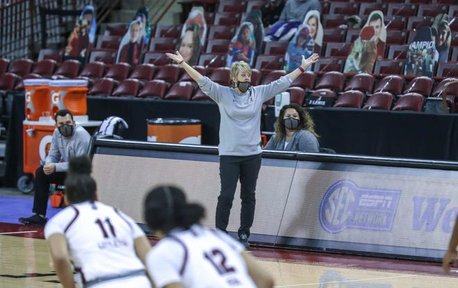 The University of South Carolina Gamecocks, under the direction of coach Dawn Staley play Alabama on Sunday, Jan. 31, 2021 in the Colonial Life Arena in Columbia, SC.