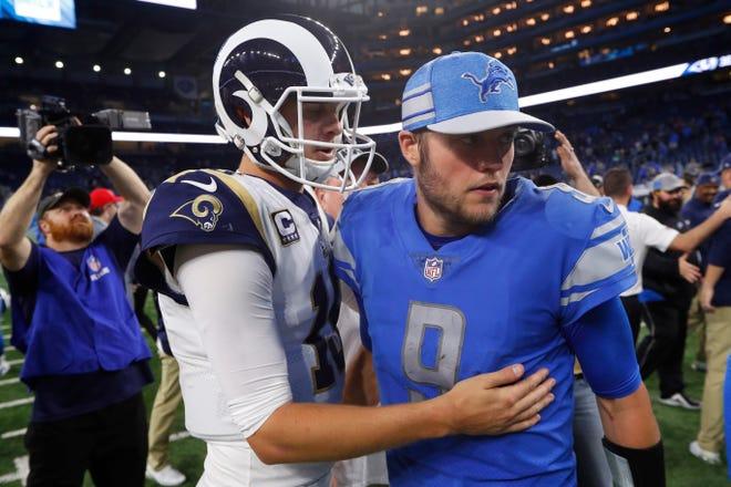 Los Angeles Rams quarterback Jared Goff greets Detroit Lions quarterback Matthew Stafford after the Rams' 30-16 win Sunday, Dec. 2, 2018, in Detroit.