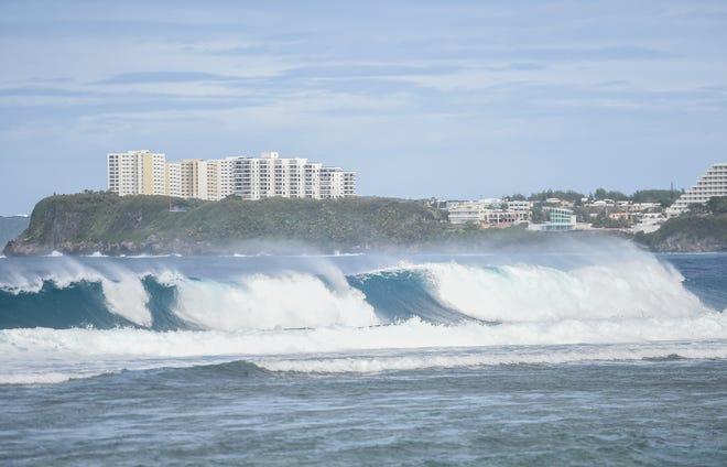 Large waves break on Agana Bay, Jan. 31, 2021.
