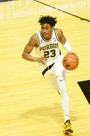 Purdue guard Jaden Ivey (23) dribbles during the second half of an NCAA men's basketball game, Saturday, Jan. 30, 2021 at Mackey Arena in West Lafayette.
