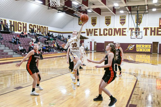 Berne Union's Bella Kline shoots a lay up Saturday afternoon against state-ranked Alexander. Kline scored a game-high 32 points as the host Rockets defeated the Spartans 49-44 in overtime.