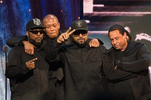 Inductees MC Ren, from left, Dr. Dre, Ice Cube and DJ Yella from N.W.A appear at the 31st annual Rock and Roll Hall of Fame Induction Ceremony at the Barclays Center on Friday, April 8, 2016, in New York.