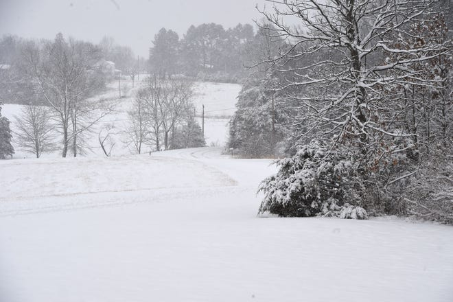 Snow fell across the area Sunday.