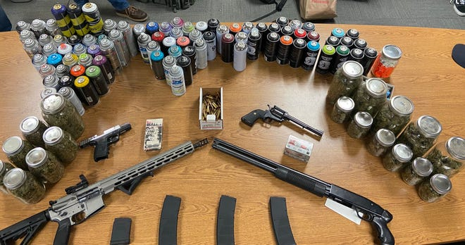 Firearms, ammunition, marijuana, spray paint and more seized during a multi-location search warrant in Camarillo.