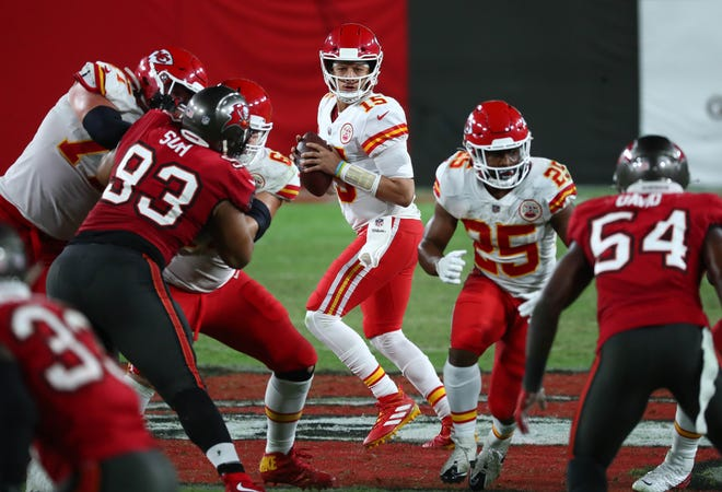 Chiefs quarterback Patrick Mahomes threw for 462 yards and three touchdowns in a 27-24 win over the Buccaneers in Tampa in Week 12.