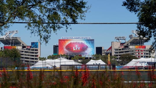 Raymond James Stadium, the site of Super Bowl LV, in Tampa, Fla. The Tampa Bay Buccaneers play the Kansas City Chiefs on Feb. 7.