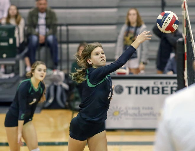 Cedar Park middle blocker Avery Cole, competing against Connally, is among many high school athletes who are still hoping to obtain college athletic scholarships during a time when the pandemic is cutting opportunities.
