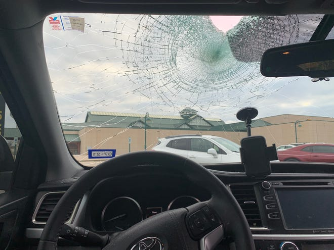 A rock hit Rebecca Rice's windshield around 12:20 a.m. Friday while she was driving on Interstate 35.