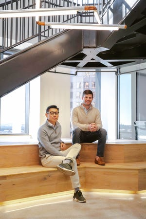 Xuan Yong, left, and Mike Witte are co-founders of Austin-based Workrise, formerly RigUp. The company changed its name to reflect its expansion from oil and gas into industries including wind, solar, construction and defense. [WORKRISE]