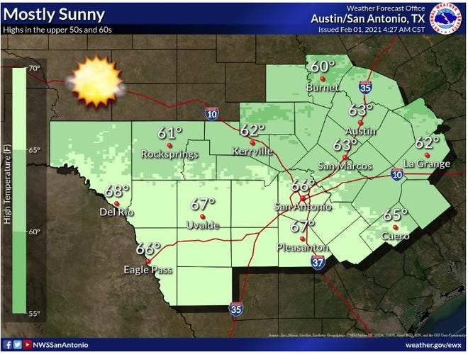 Near normal temperatures and dry weather can be expected today. Highs will range from the upper 50s to the upper 60s.
