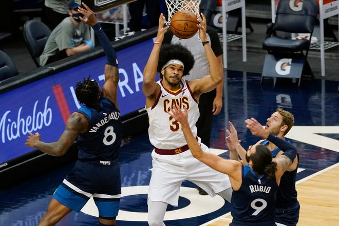 Cavaliers center Jarrett Allen will be getting more minutes alongside Andre Drummond now that Larry Nance Jr. is expected to miss six weeks with a broken hand. [Jim Mone/Associated Press]