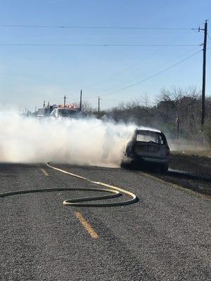 Firefighters battle car and grass fire