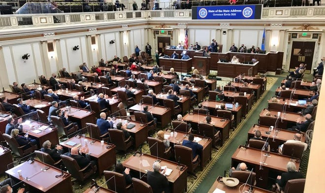 Oklahoma Gov. Kevin Stitt delivers the State of the State speech Monday.