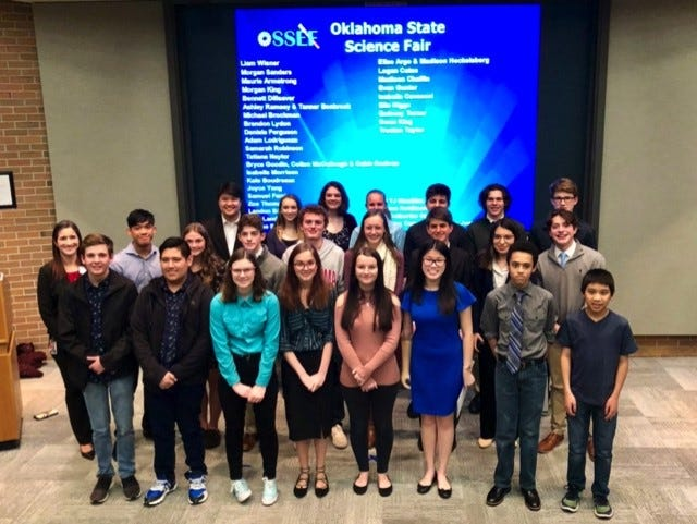 2020 Bartlesville District Science Fair students selected to advance to the state competition.