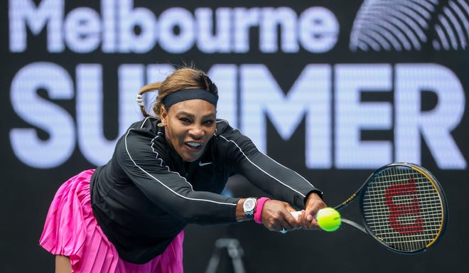 Serena Williams defeated Daria Gavrilova in a tuneup tournament ahead of the Australian Open on Monday.