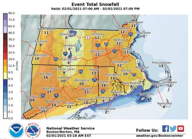 Snow totals are expected to be higher near the Cape Cod Canal.