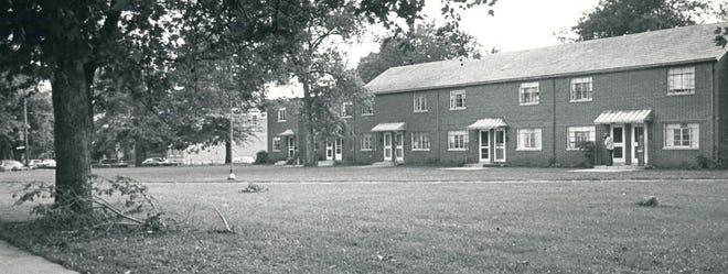 A black and white photo of Poindexter Village between Clifton and Hawthorne avenues, taken on July 24, 1980, looking toward Hawthorne Avenue.