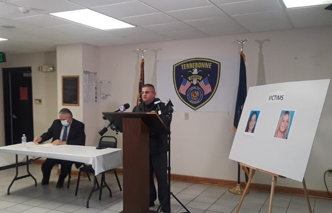 Terrebonne Parish Sheriff Tim Soignet speaks to reporters Monday about the arrest of three suspects in a January double homicide in Montegut.