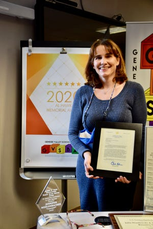 Jennifer Mehlenbacher was presented with the Al Hawk Award named for Albert W. Hawk, a longtime advocate for rural schools and member of both the Dansville Board of Education and the Genesee Valley BOCES Board of Education.