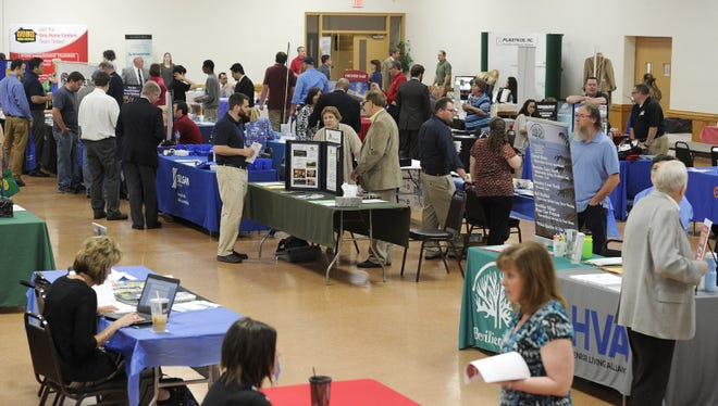 A CareerLink job fair is shown in this 2016 file photo. The COVID-19 pandemic has temporarily halted large in-person recruitment. Office hours will resume next week by appointment.