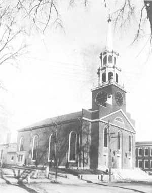 First Parish Church of Dover is seen this archival image.