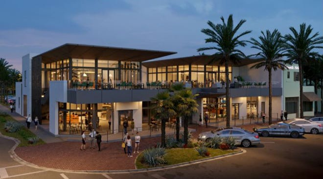 Jax Beach Town Center is projected to be completed in 2022 at 131 and 133 1st Ave. N. in Jacksonville Beach at the site of the former Campeche Bay Cantina and Ruby Beach Brewing Co.
