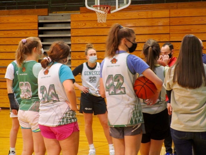 The GHS girls' basketball players at a recent practice in the school gym