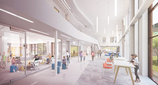 This rendering shows the future Student Success Center in the Patton Building.