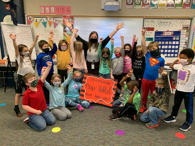 Alison Nikkel's class at Hesston Elementary celebrates after hearing she'd been recognized as a 2020-21 Kansas Horizon educator.