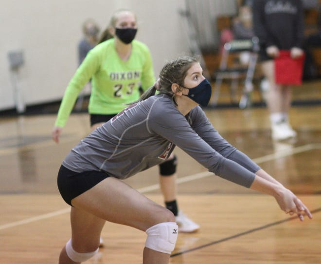 Dixon's Ryleigh Whitekettle was named the Coastal 8 1-A/2-A Conference volleyball player of the year by the league's coaches. [Chris Miller / The Daily News]