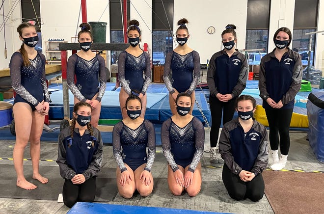 Twinsburg gymnastics scored a first-place finish at its meet Jan. 31. Team members include, front row, from left, Ella Coyne, Katy Okuma, Josie Davis and Lexi Frazier. Back row, from left, are Katie Novak, Alyssa Whitescarver, Cece Radicelli, Ellie Kneisel, Abbey Maurer and Chelsea Beers.