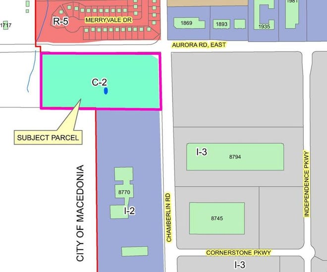 This map shows the property (marked C-2) which is proposed for rezoning on the southwest corner of East Aurora-Chamberlin roads. Cornerstone Business Park is shown in gray across Chamberlin Road.