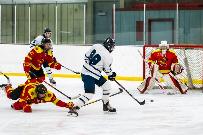 Twinsburg senior Anthony Sciarabba shoots and scores during the Tigers' 7-3 win over Brecksville-Broadview Heights Saturday.