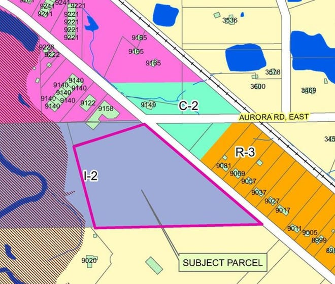 This map shows the property (light blue mark I-2)) which is proposed for rezoning south and west of the East Aurora-Ravenna roads intersection. Canon Road is in the upper right.