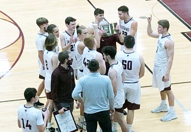 The Osage boys basketball team with its fifth place plaque from the 90th Annual Eldon Tournament on January 30 in Eldon.